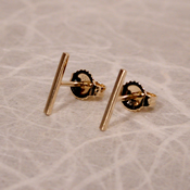 14k gold line stud earrings 10mm brushed yellow gold bar studs