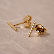 solid 14k gold bar stud earrings 7mm brushed yellow gold