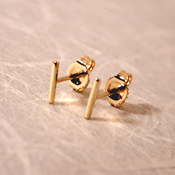 18k bar stud line earrings 7mm solid yellow gold