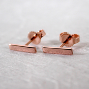 solid 14k rose gold bar stud earrings 10mm x 2mm