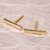 solid 18k yellow gold bar stud earrings 10mm x 2mm