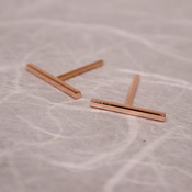 14k rose gold bar stud earrings