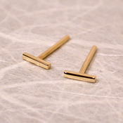 thin 18k yellow gold bar studs