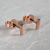 14k rose gold bar studs