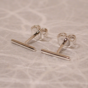 thin silver bar stud earrings