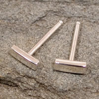 modern silver bar stud earrings 5mm