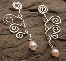 spiral mobile dangle earrings sterling silver pearl