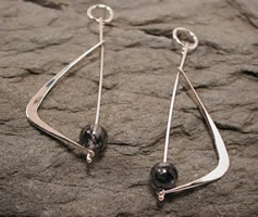 boomerang dangle earrings sterling silver tourmalinated quartz